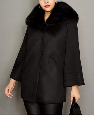 The Fur Vault Plus Size Fox-Collar Cashmere Coat