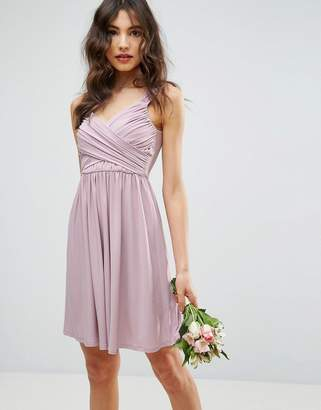 Asos Design DESIGN Bridesmaid drape front mini dress