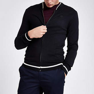 River Island Navy zip front slim fit bomber cardigan