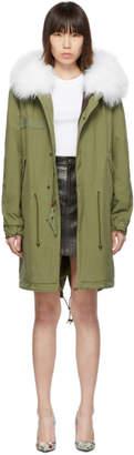 Mr & Mrs Italy Green Long Fur Army Parka