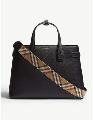 Burberry Black Check Timeless New Banner Grained Leather Tote Bag