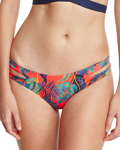 L Space Swimwear by Monica Wise Liberty Palm Estella Reversible Cutout-Side Swim Bottom, Persimmon