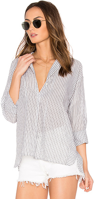 Vince Double Stripe Blouse in White $308 thestylecure.com