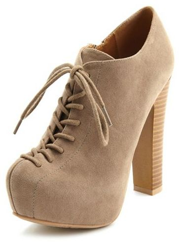 Charlotte Russe Lace-Up Sueded Ankle Bootie
