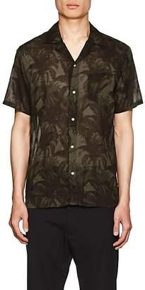 Officine Generale Men's Dario Palm-Tree-Print Cotton Camp Shirt