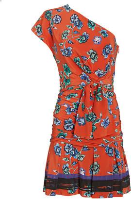 Derek Lam 10 Crosby Printed One Shoulder Gathered Silk Dress