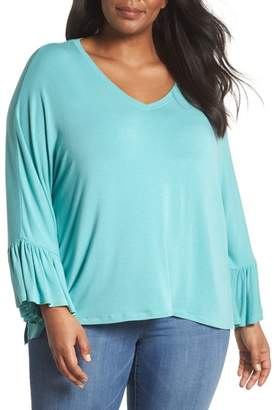 Sejour Ruffle Sleeve Knit Top (Plus Size)