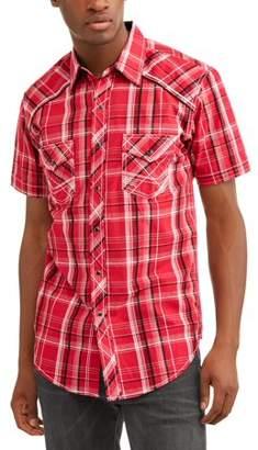 Plains Mens Short Sleeve Textured Plaids With Accent Stitch