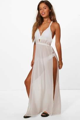 boohoo Petite Split Leg Beach Maxi Dress