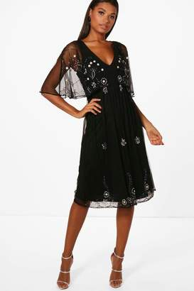 boohoo Boutique Beaded Cape Skater Dress