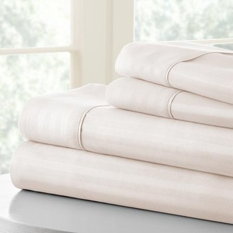 Noble Linens Premium Ultra Soft 4 Piece Embossed Striped Bed Sheet Set