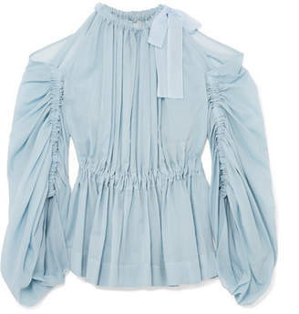 Fendi Cold-shoulder Cotton Peplum Blouse - Blue