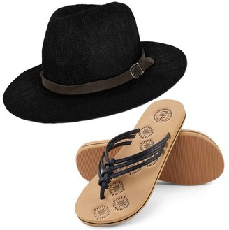 Aerusi Coral Jones Women's Floppy Straw Hat and Foam Flip Flop Sandals Set US Women's Shoe Sizes 7-10