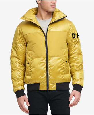 DKNY Men Mixed Media Puffer Bomber Jacket