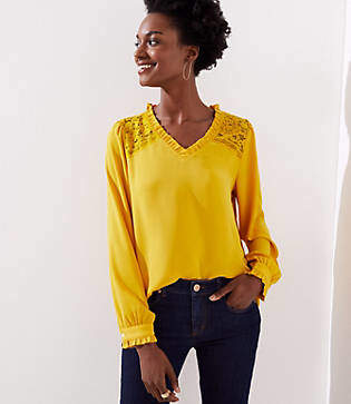 LOFT Lace Shoulder Ruffle Blouse