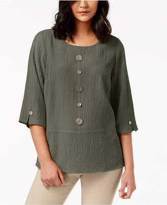 JM Collection Mixed-Button Crinkle Top, Created for Macy's