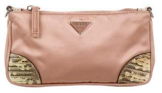 Prada Lizard-Trimmed Satin Clutch