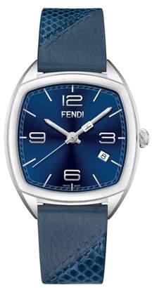 Fendi Momento Leather Strap Watch, 39mm