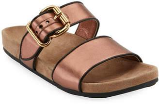 b58da059b9f Prada Metallic Leather Women s Sandals - ShopStyle