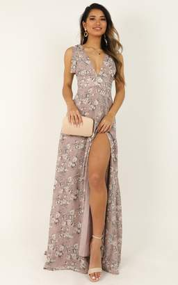 Showpo Hard To Keep Up Dress In mauve floral - 6 (XS) Dresses