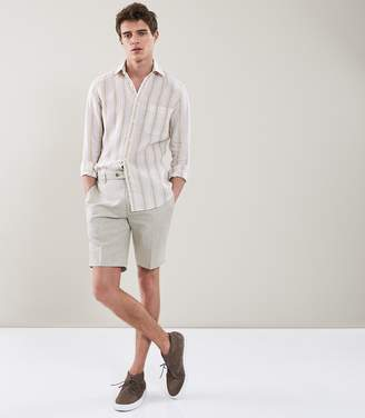Reiss CHILWA S TAILORED LINEN SHORTS Grey