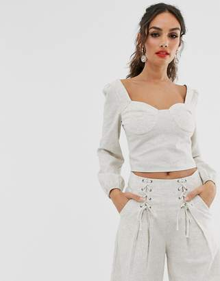 Outrageous Fortune square neck crop top with balloon sleeves in sand