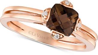 LeVian Le Vian Smoky Quartz (7/8 ct. t.w.) & Diamond Accent Ring in 14k Rose Gold
