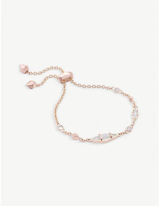 Kendra Scott Deb 14ct rose gold-plated and cubic zirconia chain bracelet