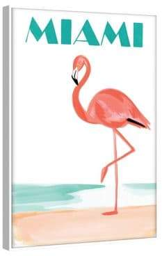 Marmont Hill Miami Flamingo Floater Framed Print