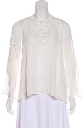 Joie Chiffon Long Sleeve Embroidered Blouse