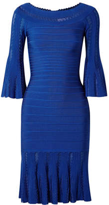 Herve Leger Margo Off-the-shoulder Pointelle-paneled Bandage Dress - Bright blue