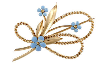 Cartier Heritage  14K Yellow Gold Turquoise Brooch