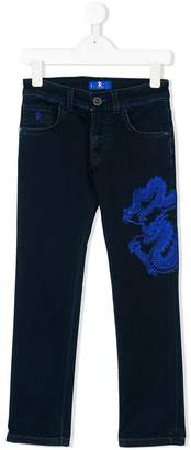 Stefano Ricci Kids dragon embroidered jeans