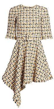 Oscar de la Renta Women's Checked Tweed Asymmetric Hem Dress