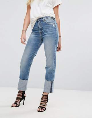 Replay High Waist Jean with Extended Hem Detail