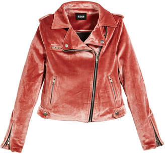 Hudson Girls' Nadia Velvet Moto Jacket, Size S-XL