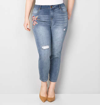 Avenue Embroidered Floral Frayed Crop Jean
