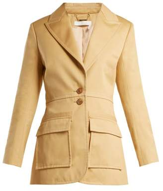 Chloé Single Breasted Cotton Gabardine Blazer - Womens - Beige