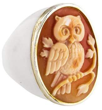 Amedeo Owl Carved Shell Ring
