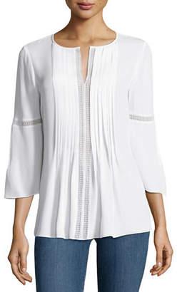 Elie Tahari Orion Bell-Sleeve Silk-Georgette Blouse