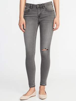 Old Navy Mid-Rise Distressed Raw-Edge Gray Rockstar Jeans for Women