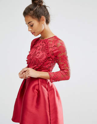 Little Mistress Petite Ruffle And Lace Detail Bodice Mini Dress With Sateen Skirt