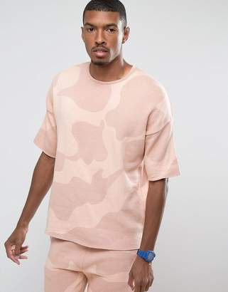 Asos DESIGN Oversized Knitted T-Shirt in Pink Camo