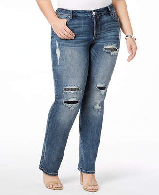 INC International Concepts I.n.c. Plus Size Ripped Straight-Leg Jeans, Created for Macy's