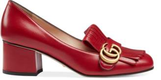 Gucci Leather mid-heel pump