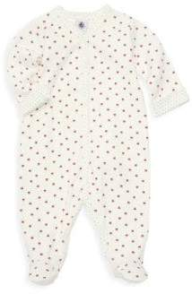 Petit Bateau Baby Girl's Bianca Bow Print Footie