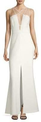 BCBGMAXAZRIA Plunge Crisscross Back Gown