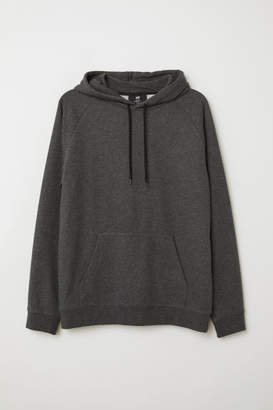 H&M Hooded Raglan-sleeve Shirt - Black