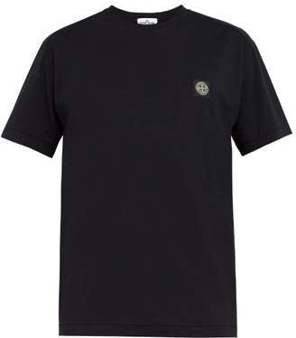 Stone Island Logo Patch Cotton T Shirt - Mens - Navy