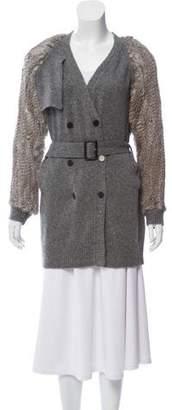 3.1 Phillip Lim Fur-Accented Belted Cardigan